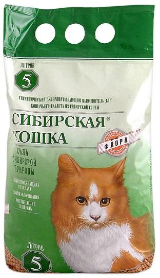 Наполнитель для кошачьего туалета Сибирская Кошка ФЛОРА древесный гранулы 6мм