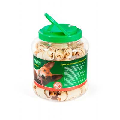 Лакомство для собак Рогалики из кожи с начинкой Титбит (Titbit)
