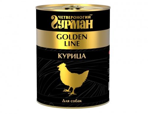 Влажный корм для собак Четвероногий гурман Золотая линия, курица в желе, 340 гр