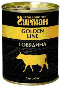 """Влажный корм для собак Четвероногий гурман """"Золотая линия"""" Говядина в желе"""