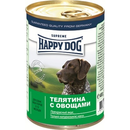 Влажный корм для собак Happy Dog (Хэппи Дог), телятина и овощи, 400 гр