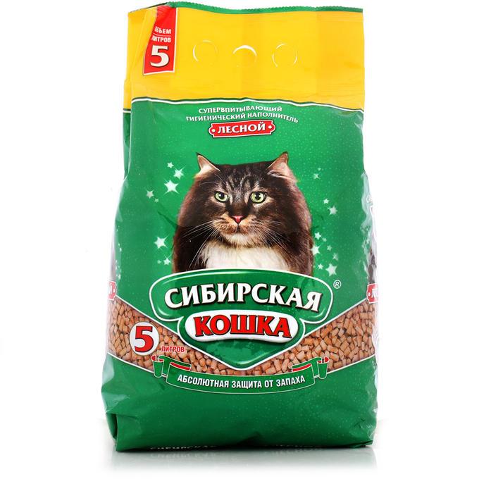 Наполнитель для кошачьего туалета Сибирская Кошка 1кг ЛЕСНОЙ древесный