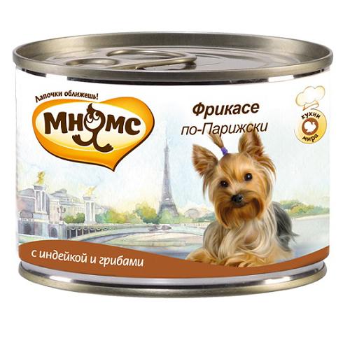 Влажный корм для собак Мнямс Фрикасе по-Парижски, индейка и грибы, 200 гр