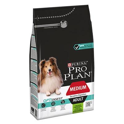 Сухой корм для собак средних пород с чувствительным пищеварением ПроПлан (Pro Plan) Ягненок/рис