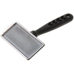 Пуходерка для собак металлическая с пластиковой черной ручкой средняя