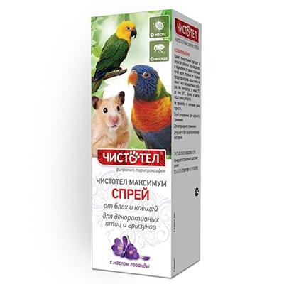 Спрей от блох и клещей ЧИСТОТЕЛ Максимум для птиц и грызунов 100мл