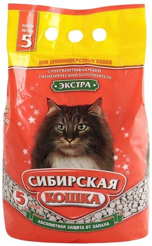 Наполнитель для кошачьего туалета Сибирская Кошка ЭКСТРА для длинношерстных кошек впитывающий (