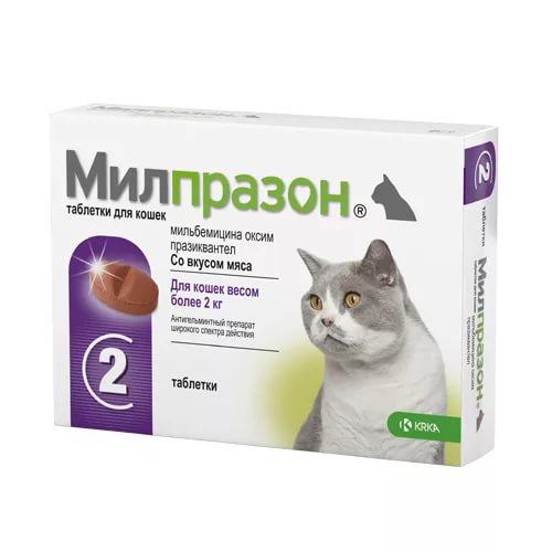 Таблетки от глистов для кошек Милпразон с массой тела более 2кг  2 таблетки