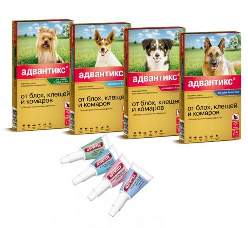 Капли Адвантикс против блох для собак 4 пипетка*4,0 мл