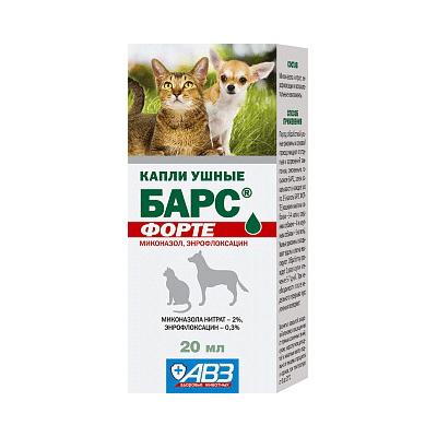 Ушные капли Барс форте для кошек и собак, 20 мл