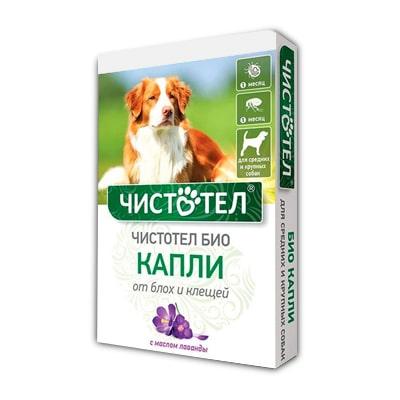 Капли Чистотел БИО от блох и клещей для собак