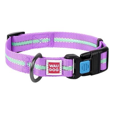 Ошейник светонакопительный для собак Коллар (Collar) Waudog Nylon фиолетовый