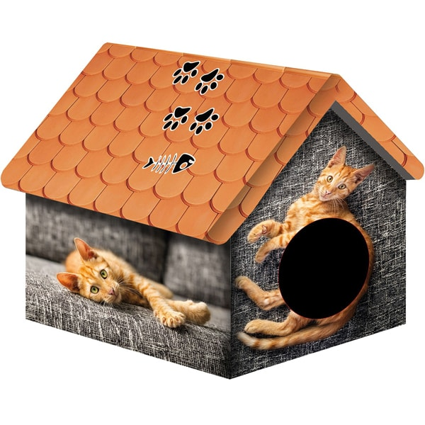 Домик для кошки 33*33*40 рыжий кот