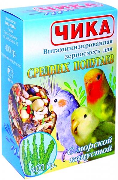 Корм для средних попугаев ЧИКА морская капуста 400г