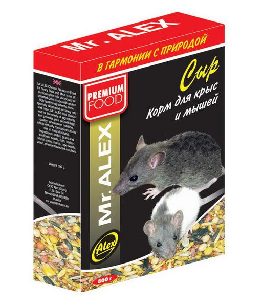 Корм для крыс и мышей МИСТЕР АЛЕКС Сыр 500г