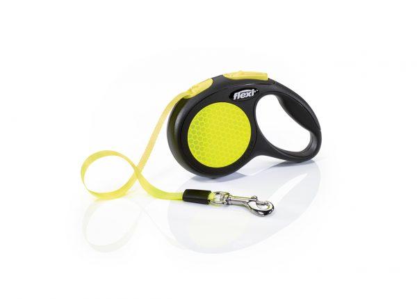 Рулетка ремень для собак Flexi (Флекси) Neon Safety plus, 5м 50кг