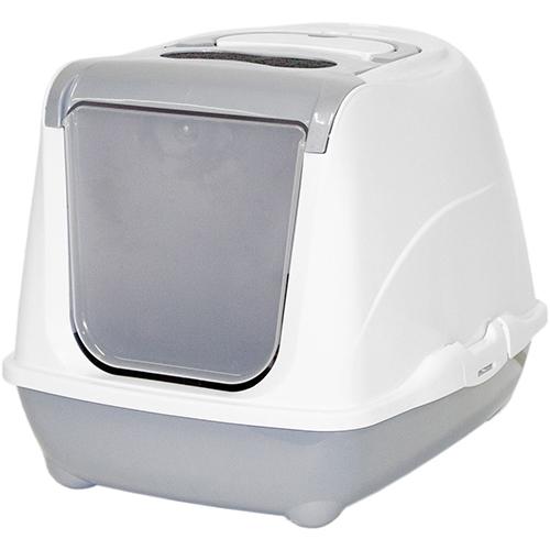 Туалет для кошек Модерна (Moderna) Flip Cat светло-серый закрытый