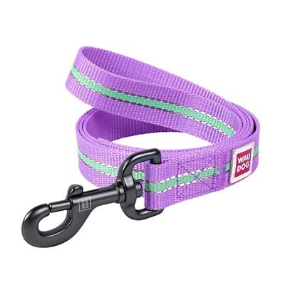 Поводок светонакопитеьлный для собак Коллар (Collar) Waudog Nylon (15 мм, длина 122см) фиолетовый