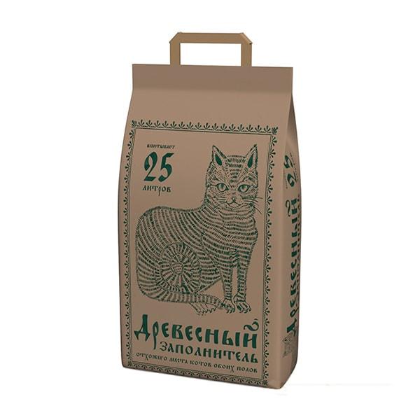 Наполнитель для кошачьего туалета NO NAME древесный крафт-пакет