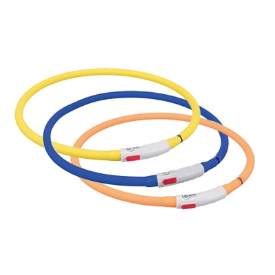 Ошейник светодиодный для собак TRIXIE (Трикси) мигающее кольцо USB, силикон, XS–XL: 70 см, диаметр 10 мм