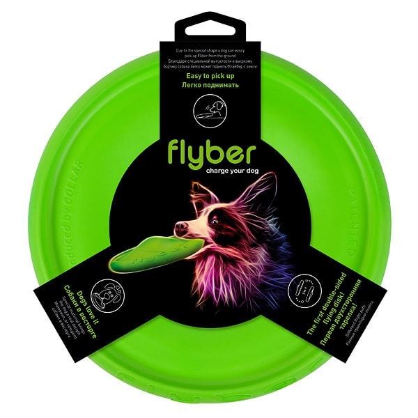 Игрушка для собак летающая тарелка ФЛАЙБЕР КОЛЛАР (Collar) зеленая
