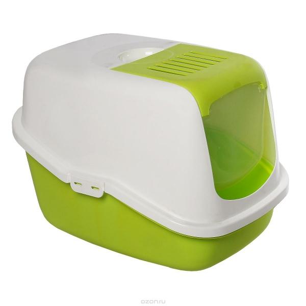 Туалет для кошек SAVIC Nestor белый-зеленый лимон