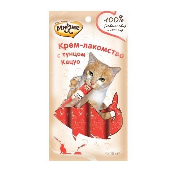 Крем-лакомство для кошек Мнямс с тунцом Кацуо 4 шт.