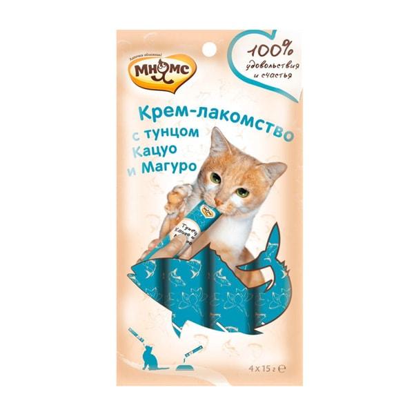 Крем-лакомство для кошек Мнямс с тунцом Кацуо и Магуро  4 шт.