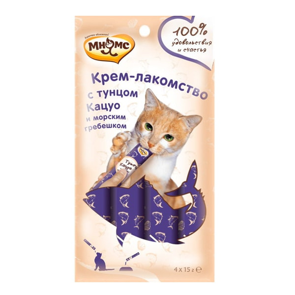 Крем-лакомство для кошек Мнямс с тунцом Кацуо и морским гребешком 4 шт.