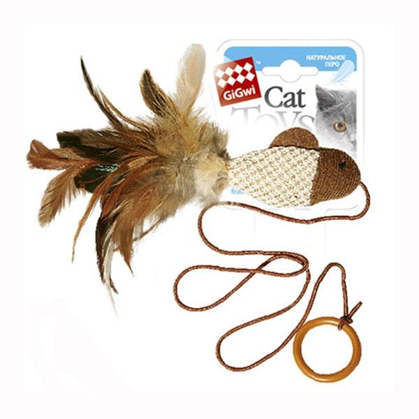 Игрушка для кошки дразнилка GiGwi рыбка с перьями на резинке с кольцом