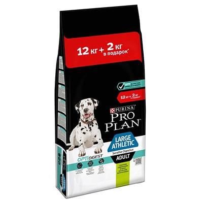 Сухой корм для собак крупных пород атлетического телосложения с чувствительным пищеварением ПроПлан (Pro Plan) Ягненок 12 + 2 кг в ПОДАРОК