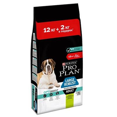 Сухой корм для собак крупных пород мощного телосложения с чувствительным пищеварением ПроПлан (Pro Plan) Ягненок 12 + 2 кг в ПОДАРОК