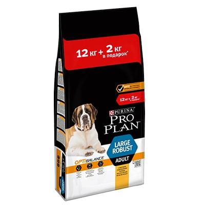 Сухой корм для собак крупных пород мощного телосложения ПроПлан (Pro Plan) Курица/рис 12 + 2 кг в ПОДАРОК