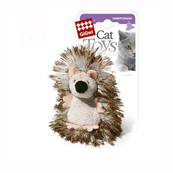 Игрушка для кошек мягкая GiGwi ежик с погремушкой