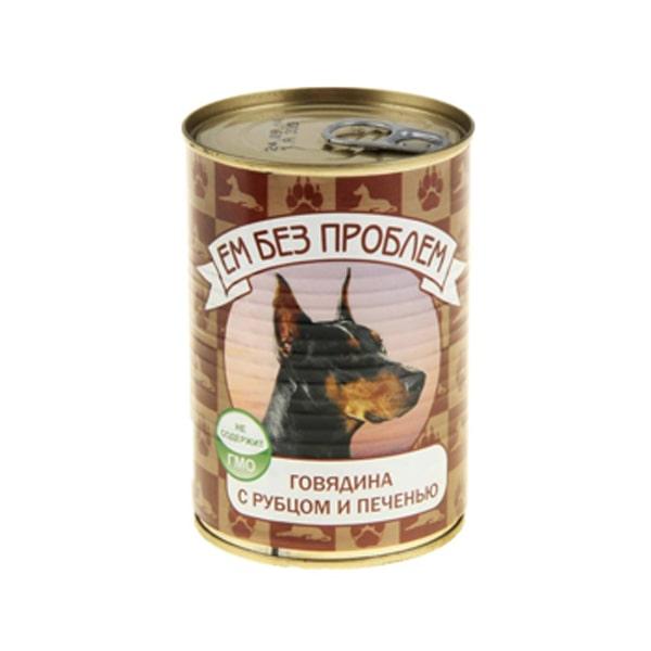 Влажный корм для собак Ем без проблем, говядина, рубец, печень