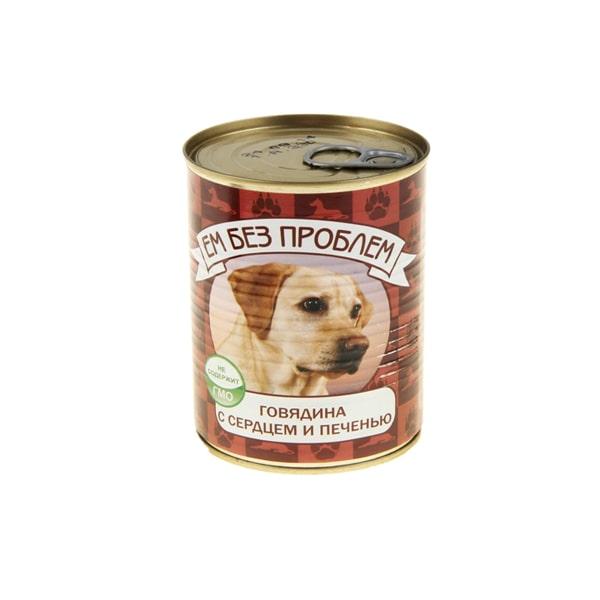 Влажный корм для собак Ем без проблем, говядина, сердце, печень