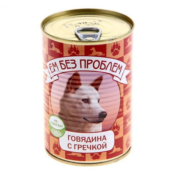 Влажный корм для собак Ем без проблем Говядина с гречкой 410 гр