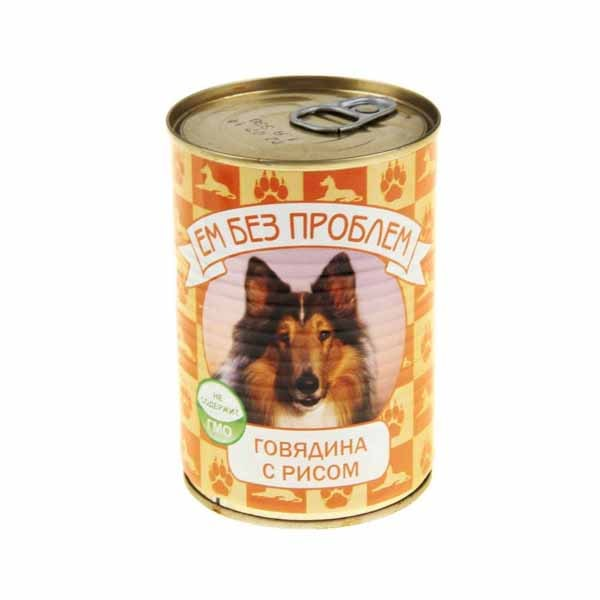 Влажный корм для собак Ем без проблем Говядина с рисом 410г