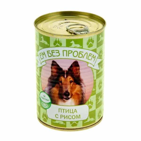 Влажный корм для собак Ем без проблем Птица с рисом 410г