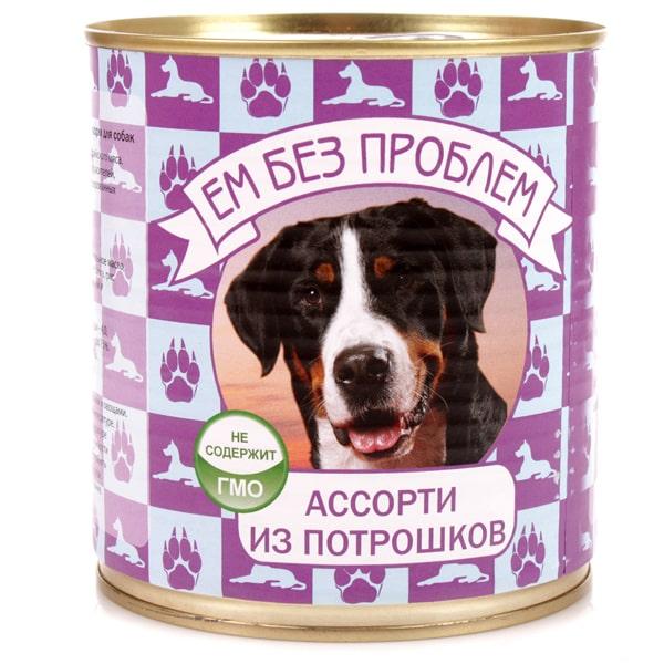 Влажный корм для собак Ем без проблем Ассорти из потрошков 750г