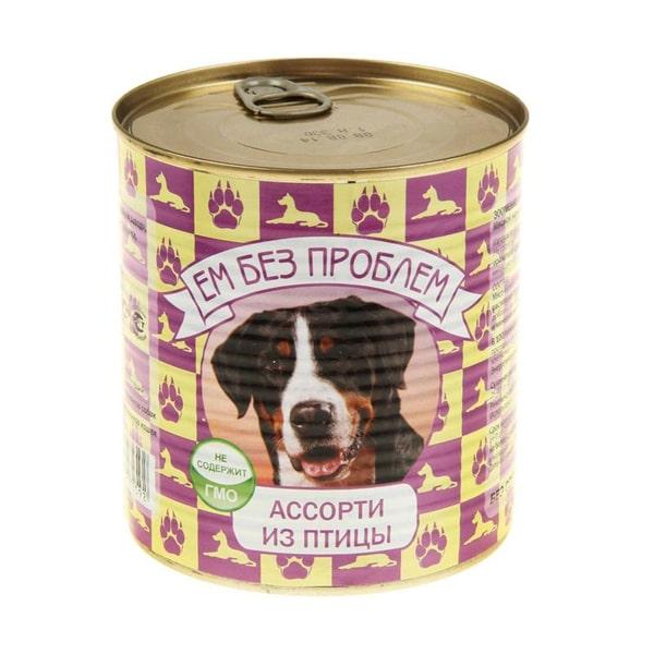 Влажный корм для собак Ем без проблем Ассорти из птицы 750г