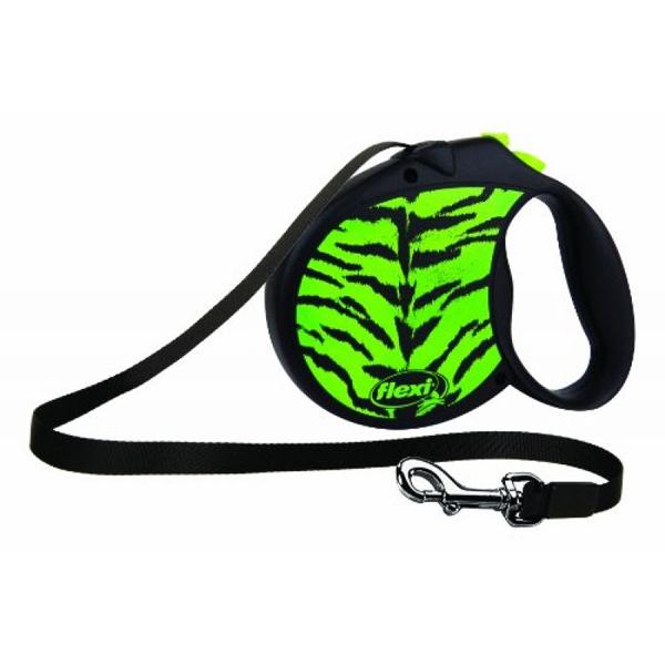 Тросовый поводок-рулетка для собак FLEXI  Safari cord S 5м 12 кг зеленый тигр