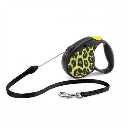 Тросовый поводок-рулетка для собак FLEXI Safari cord S 5м 12 кг желтый леопард