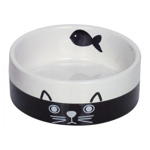 Миска для кошек Nobby керамика ч/б с рисунком CAT FACE