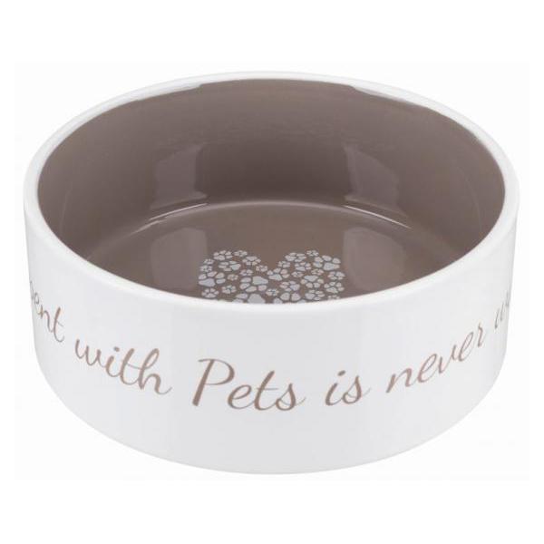 Миска для собак TRIXIE Pet's Home, керамика 1.4 л/ф 20 см, кремовый/темно-серый
