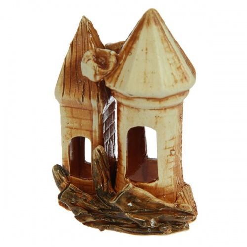 Декорации для аквариума Домик с башней, глазурь, микс