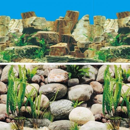 Фон для аквариумов Каменное многоцветье/Русло реки 0,6*1м
