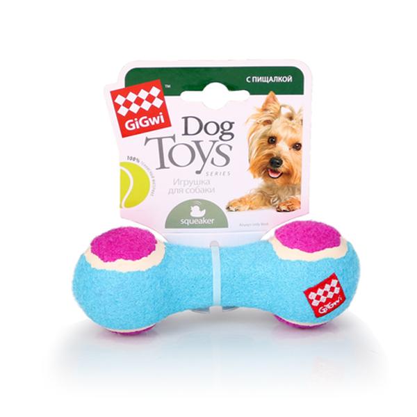Игрушка для собак GiGwi Гантеля с пищалкой маленькая/теннисный материал