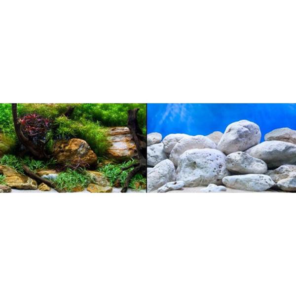 Фон для аквариумов двухсторонний ВОДНЫЙ САД/ЯРКИЕ КАМНИ 60см*1м