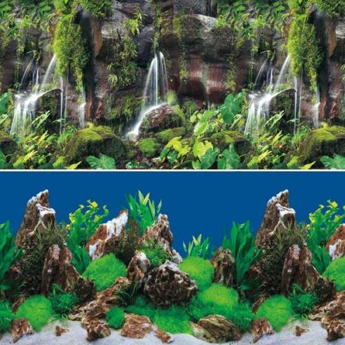 Фон для аквариумов Тропический водопад/Скалы в глубине 0,4*1м